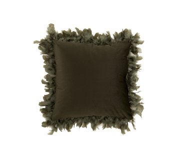 J -Line Cushion Square Fluffy Plumes Polyester - Khaki