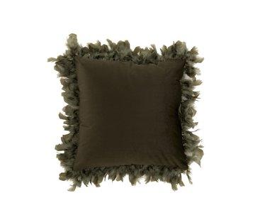 J-Line  Kussen Vierkant Fluffy Pluimen Polyester - Khaki