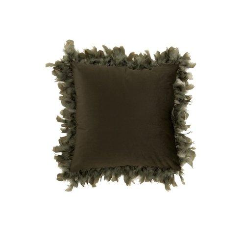 J -Line Kussen Vierkant Fluffy Pluimen Polyester - Khaki