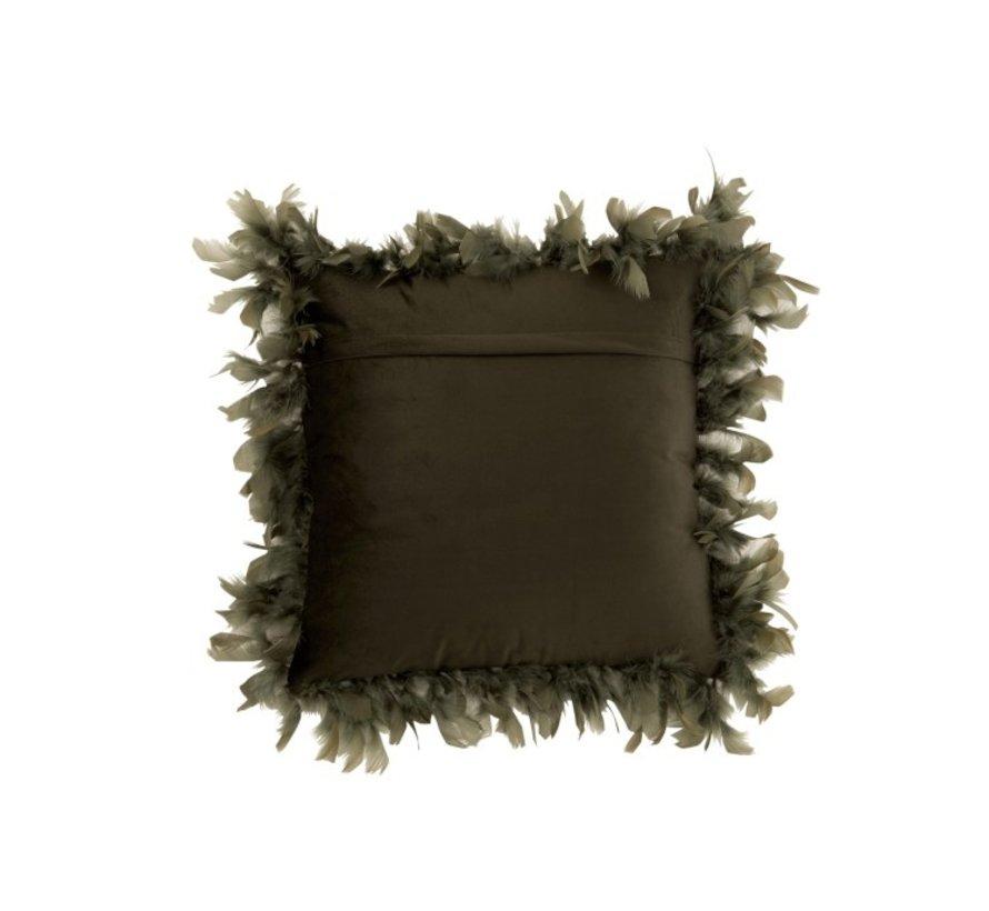 Cushion Square Fluffy Plumes Polyester - Khaki