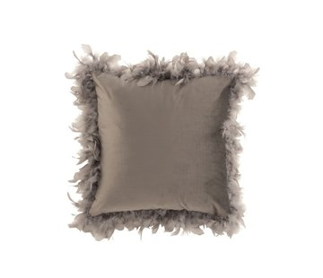 J -Line Cushion Square Fluffy Plumes Polyester - Light Gray