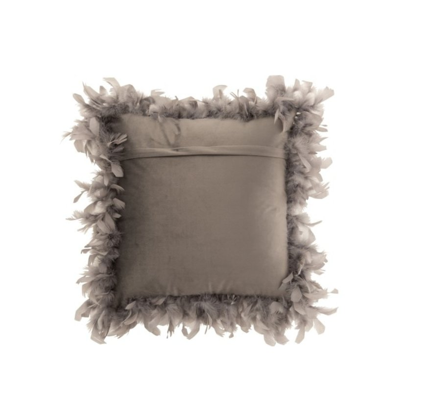 Cushion Square Fluffy Plumes Polyester - Light Gray