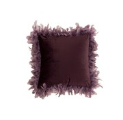 J-Line  Cushion Square Fluffy Plumes Polyester - Purple