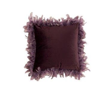 J-Line  Kussen Vierkant Fluffy Pluimen Polyester - Paars