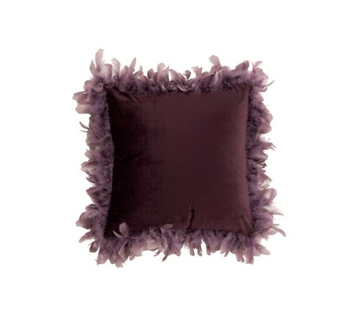 J -Line Cushion Square Fluffy Plumes Polyester - Purple