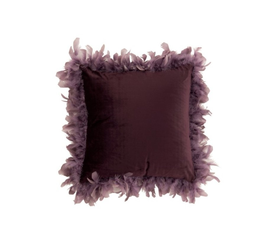 Kussen Vierkant Fluffy Pluimen Polyester - Paars