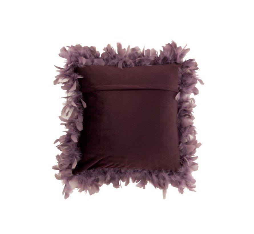 Cushion Square Fluffy Plumes Polyester - Purple
