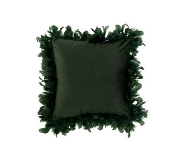 J -Line Cushion Square Fluffy Plumes Polyester - Dark green