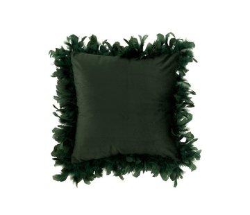J-Line Kussen Vierkant Fluffy Pluimen Polyester - Donkergroen