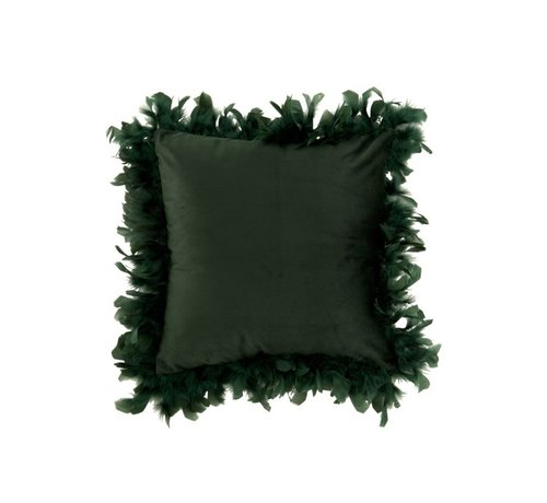 J-Line Cushion Square Fluffy Plumes Polyester - Dark green