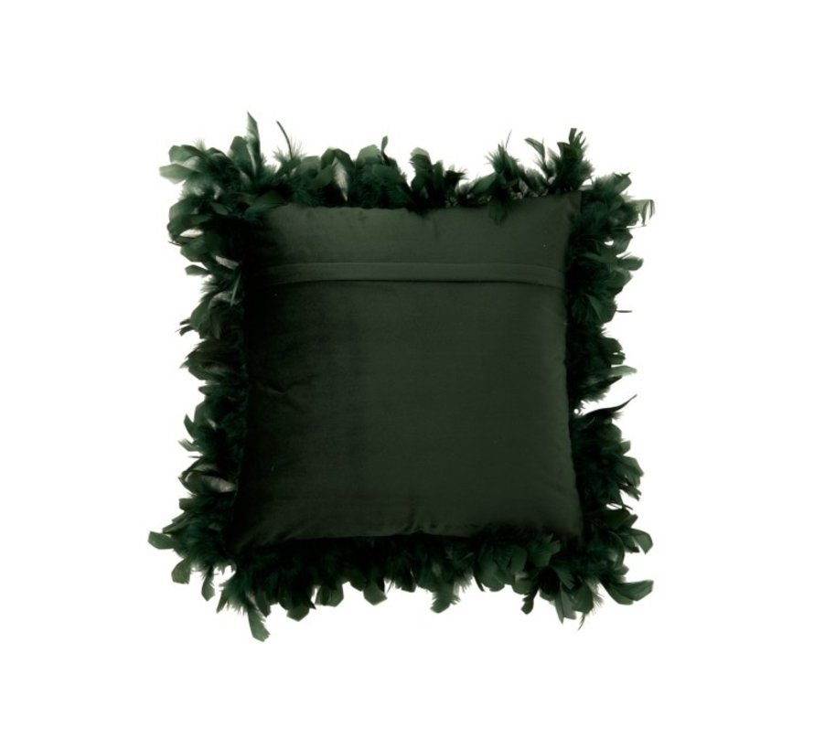 Cushion Square Fluffy Plumes Polyester - Dark green