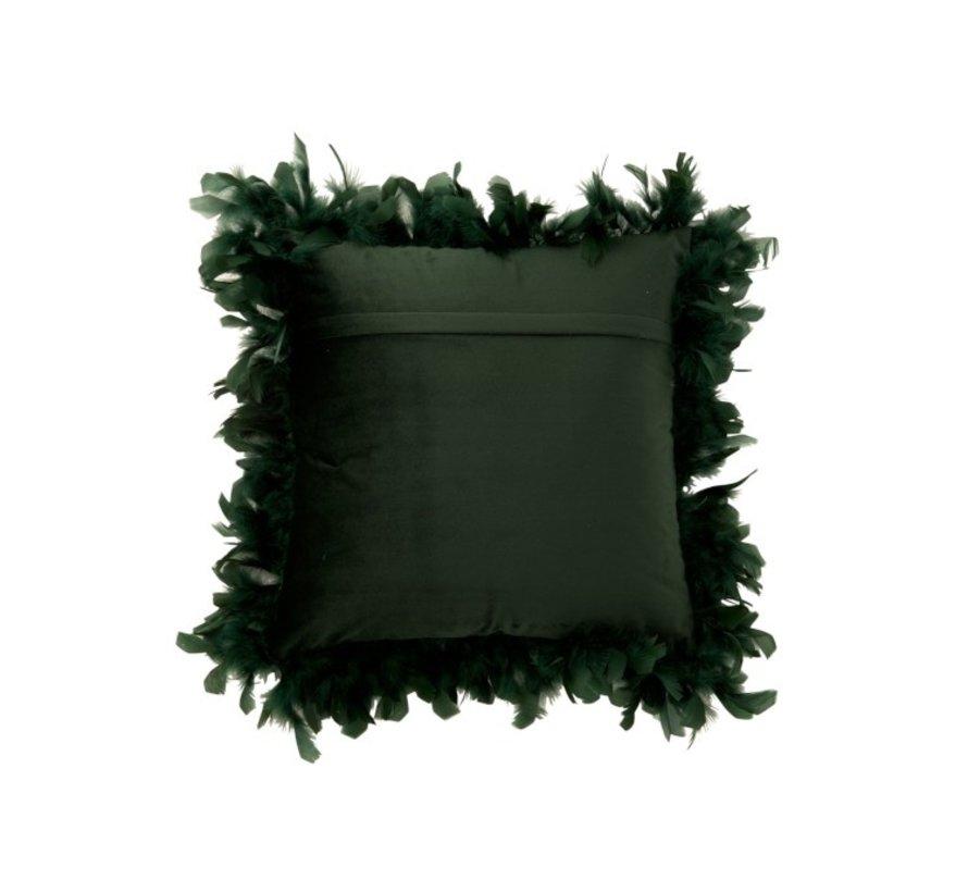 Kussen Vierkant Fluffy Pluimen Polyester - Donkergroen