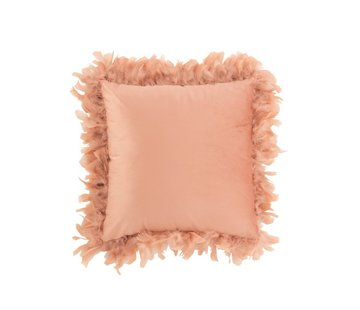 J-Line Cushion Square Fluffy Plumes Polyester - Pink