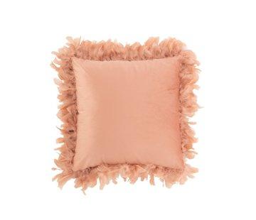 J-Line  Kussen Vierkant Fluffy Pluimen Polyester - Roze