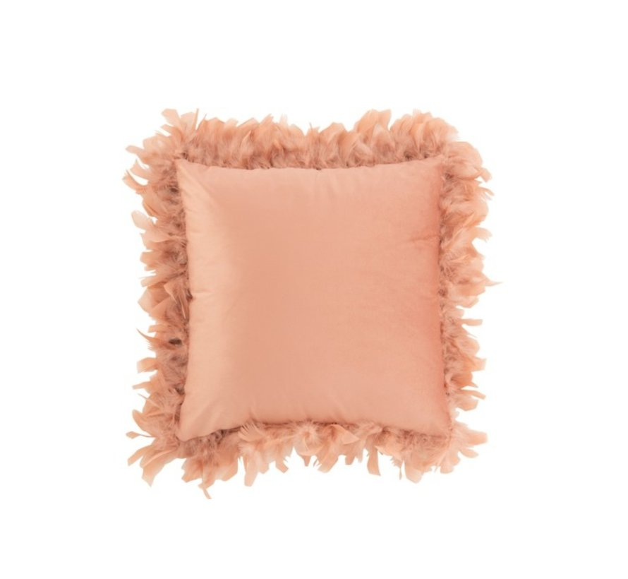Cushion Square Fluffy Plumes Polyester - Pink