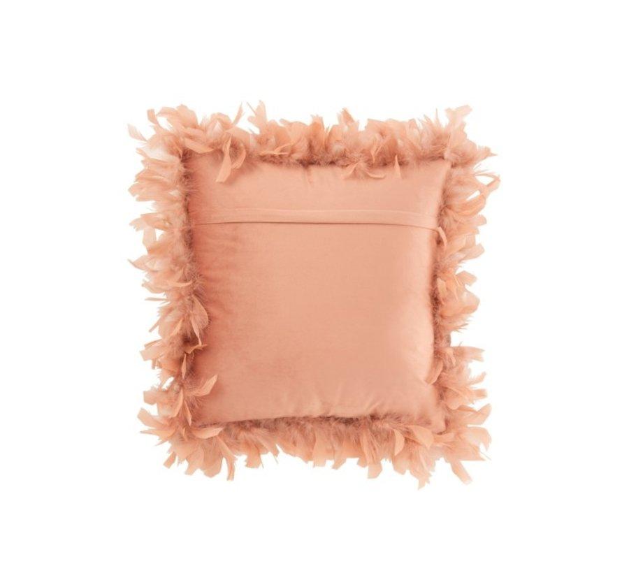 Kussen Vierkant Fluffy Pluimen Polyester - Roze