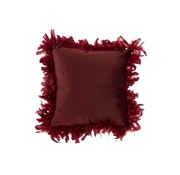 J -Line Cushion Square Fluffy Plumes Polyester - Bordeaux