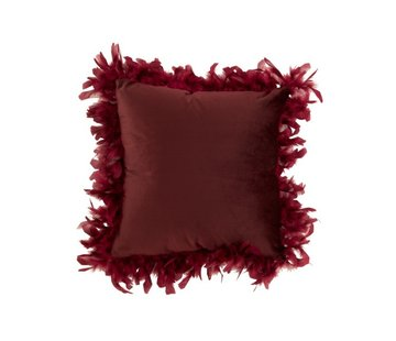 J-Line Cushion Square Fluffy Plumes Polyester - Bordeaux