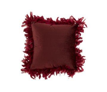 J-Line Kussen Vierkant Fluffy Pluimen Polyester - Bordeaux