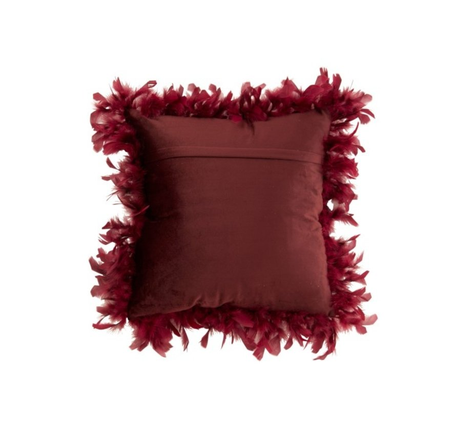 Cushion Square Fluffy Plumes Polyester - Bordeaux