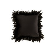 J-Line  Cushion Square Fluffy Plumes Polyester - Black