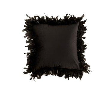 J-Line  Kussen Vierkant Fluffy Pluimen Polyester - Zwart
