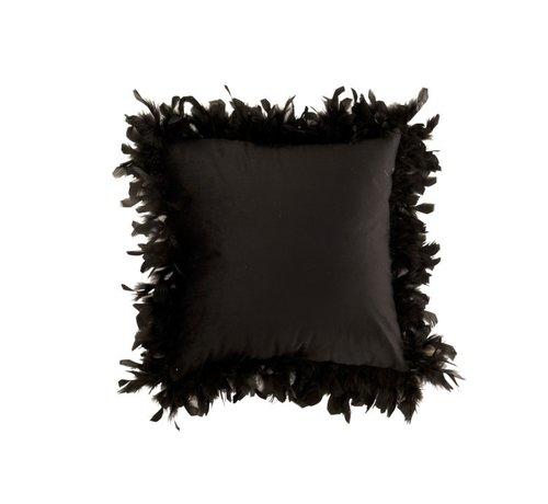 J -Line Kussen Vierkant Fluffy Pluimen Polyester - Zwart