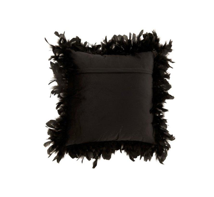 Kussen Vierkant Fluffy Pluimen Polyester - Zwart