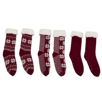 J-Line Decorative Christmas Stockings With Christmas Patterns Red - White