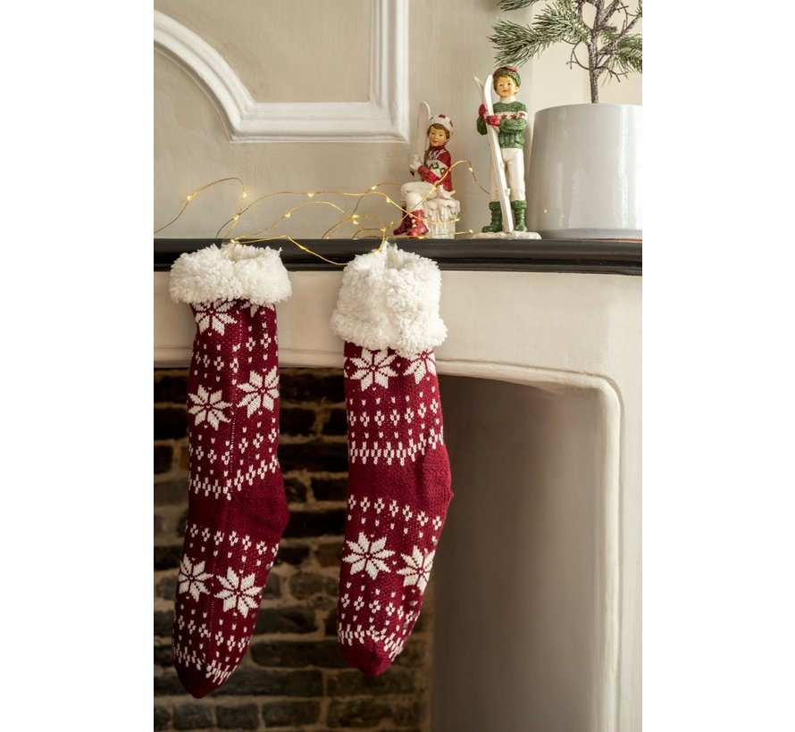 Decorative Christmas Stockings With Christmas Patterns Red - White