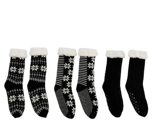 J -Line Decoratieve Kerstkousen Met Kerstpatronen Zwart - Wit