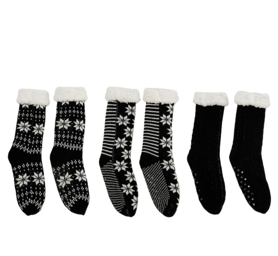 Decorative Christmas Stockings With Christmas Patterns Black - White