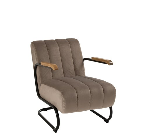 J -Line Relaxzetel 1 Zit Houten Leuning Textiel Metaal Grijs - Beige