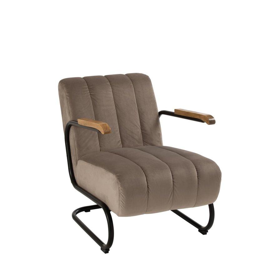 Relaxzetel 1 Zit Houten Leuning Textiel Metaal Grijs - Beige