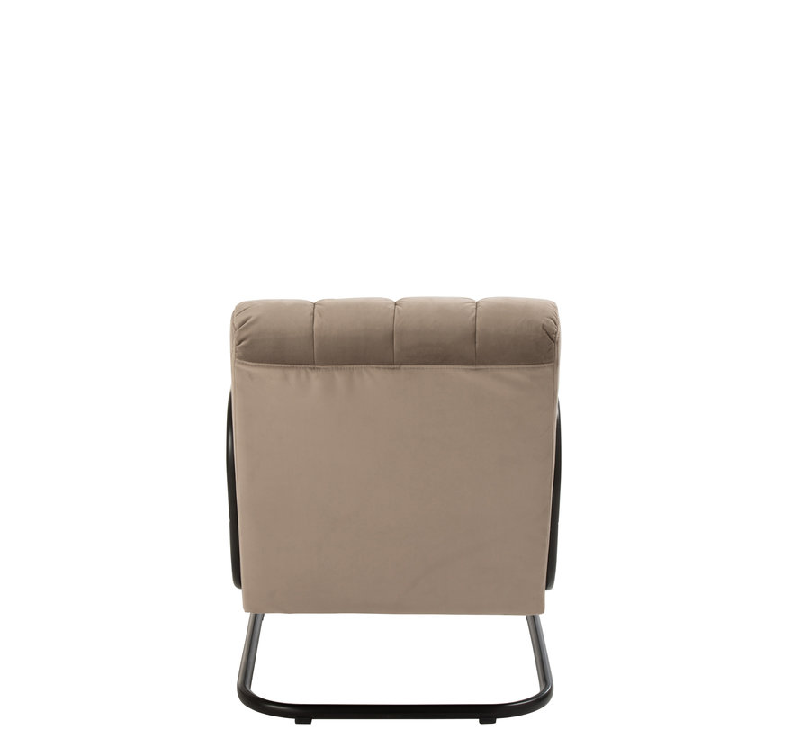 Relax chair 1 Seat Wooden Handrail Textile Metal Gray - Beige