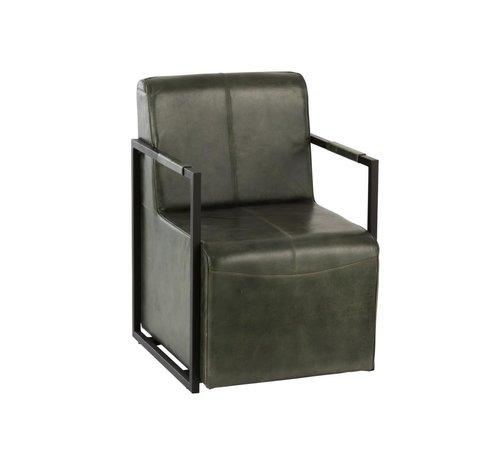 J -Line Blokstoel Rustiek Leder Metaal Groen - Zwart