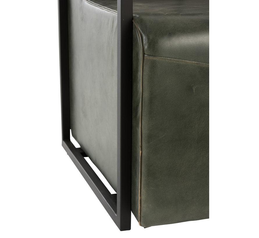 Block chair Rustic Leather Metal Green - Black