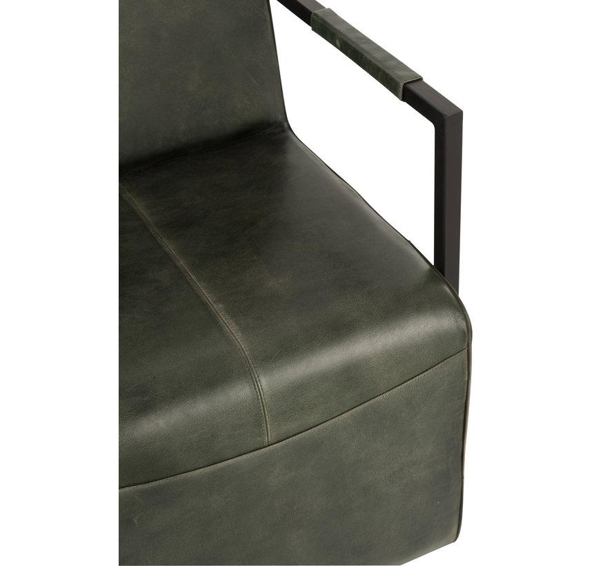 Blokstoel Rustiek Leder Metaal Groen - Zwart