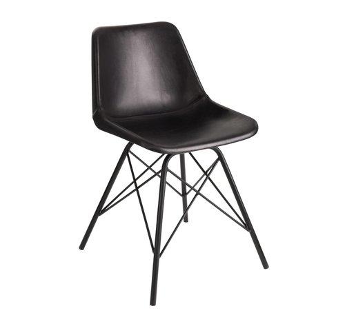 J -Line Chair Loft Rustic Legs Metal Leather - Black