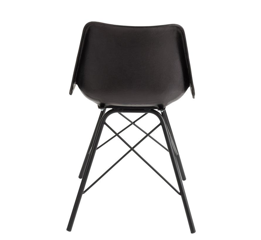 Chair Loft Rustic Legs Metal Leather - Black