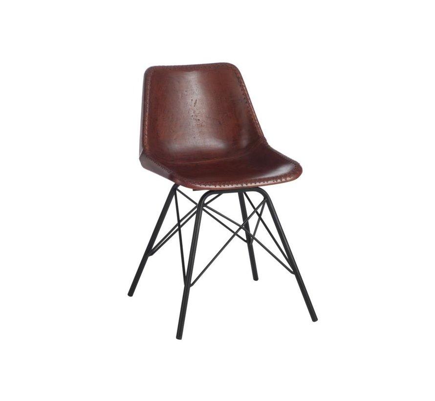 Chair Loft Rustic Legs Metal Leather Brown - Black