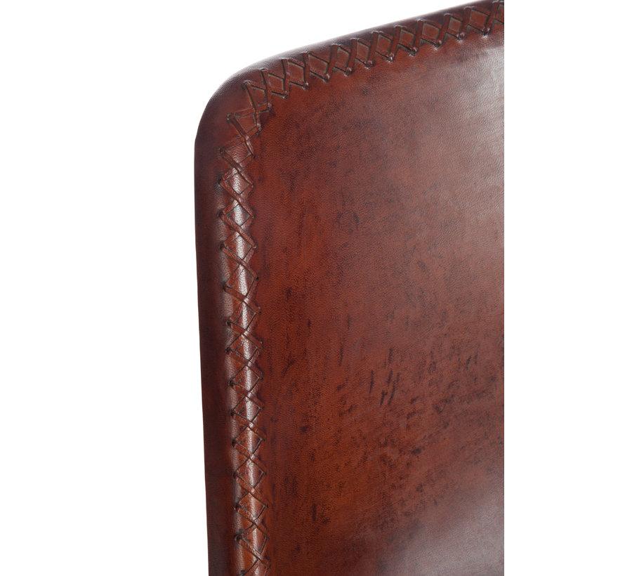 Stoel Loft Rustieke Poten Metaal Leder Bruin - Zwart