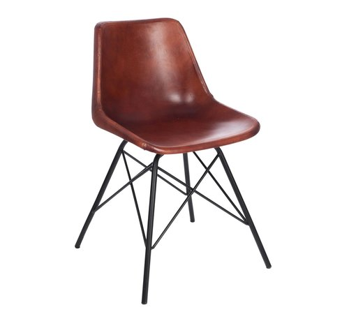 J -Line Chair Crossed Legs Metal Leather Brown - Black