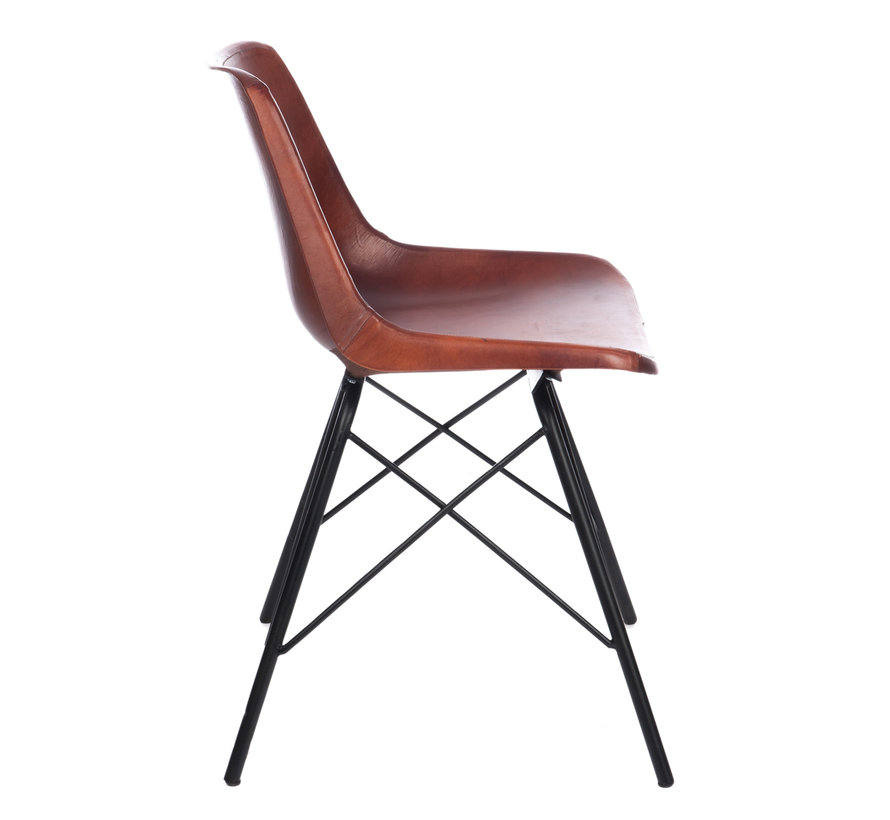 Chair Crossed Legs Metal Leather Brown - Black