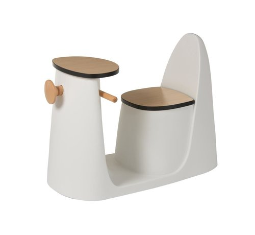 J -Line Chair table Scooter Plastic Wood White - Brown
