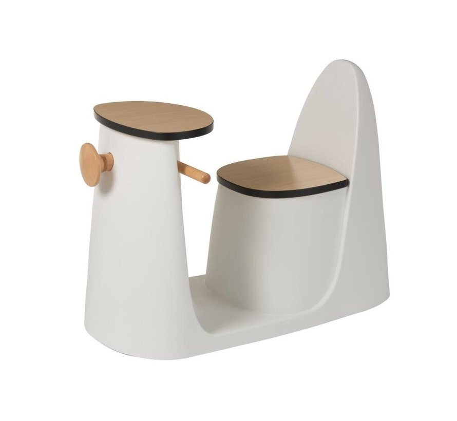 Kinderstoel Tafel Scooter Kunststof Hout Wit - Bruin
