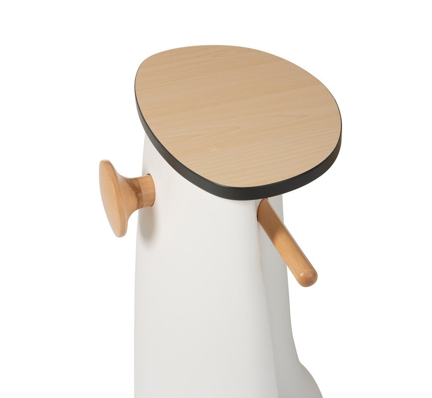 Chair table Scooter Plastic Wood White - Brown