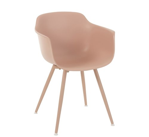 J -Line Bucket seat Wooden Legs Pastel Pink - Brown