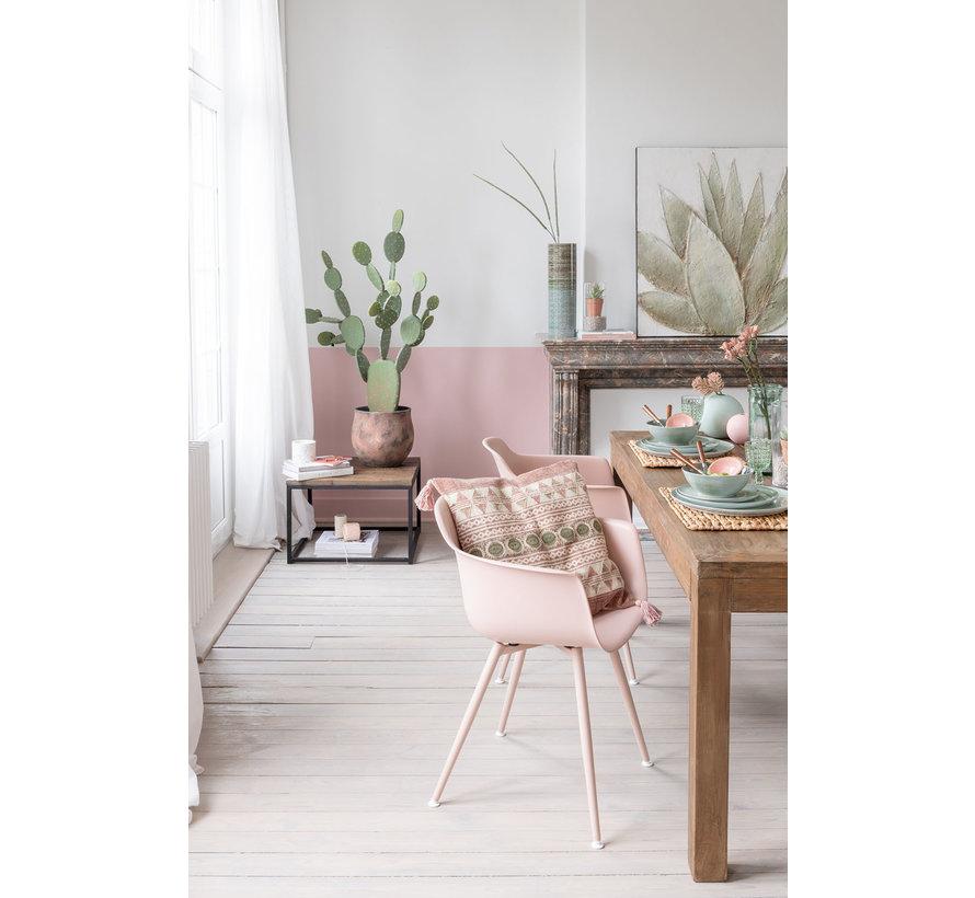 Kuipstoel Houten Poten Pastel Roze - Bruin