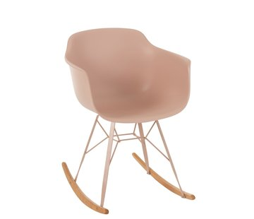 J -Line Rocking chair Metal Plastic Pastel Pink - Brown